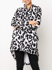 Black-White Leopard Zipper Pockets Hooded High-low Casual Coat Outerwear