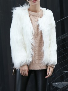 White Faux Fur V-neck Long Sleeve Fashion Coat