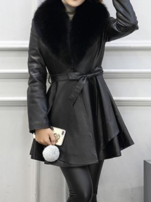 Black Sashes Fur Collar Long Sleeve Going out PU Leather Coat
