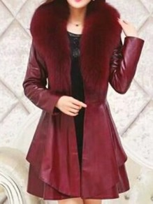 Red Sashes Fur Collar Long Sleeve Going out PU Leather Coat