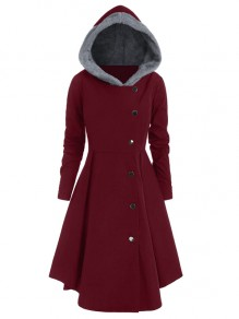 Burgundy Grey Faux Fur Single Breasted Plus Size Long Sleeve Going out Retro Cosplay Hooded Trench Coat Dress