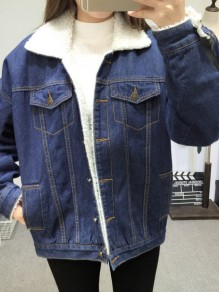 Blue Patchwork Fur Pockets Buttons Single Breasted Turndown Collar Long Sleeve Casual Coat