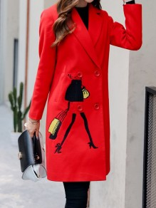Red Figure Embroidery Pockets Behind Slit Turndown Collar Long Sleeve Going out Coat