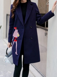Blue Figure Embroidery Pockets Behind Slit Turndown Collar Long Sleeve Going out Coat