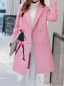 Pink Figure Embroidery Pockets Behind Slit Turndown Collar Long Sleeve Going out Coat