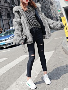 Light Grey Patchwork Faux Fur Zipper Hooded Fashion Outerwear