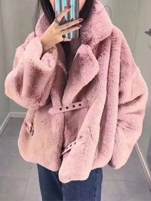 Pink Faux Fur Pockets Belt Turndown Collar Long Sleeve Coat