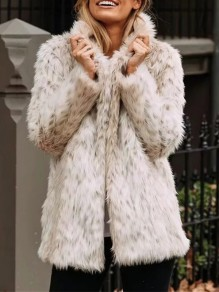 Beige Faux Fur Pockets Turndown Collar Long Sleeve Oversize Coat