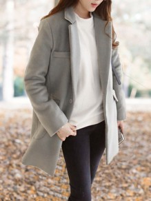 Grey Pockets Buttons Turndown Collar Long Sleeve Wool Coat