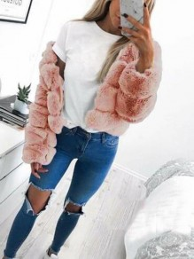 Rosa Faux Fur Langarm Winter Warme Fellimitat Pelzmantel Felljacke Kurz Damen Mode