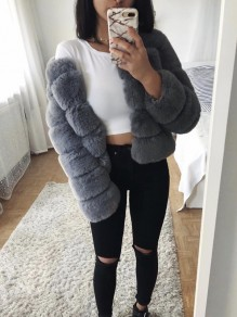 Grey Fur V-neck Long Sleeve Elegant Coat