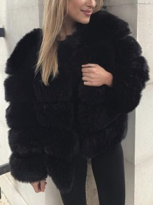 Black Fur V-neck Long Sleeve Elegant Coat