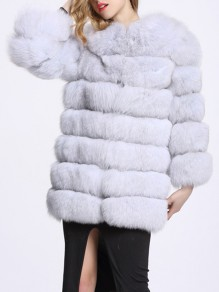 Light Grey Patchwork Faux Fur Pockets Collarless Fashion Outerwear