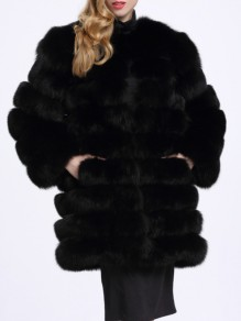 Black Fuzzy Faux Fur Pockets Warm Fashion Bubble Coat Outerwear