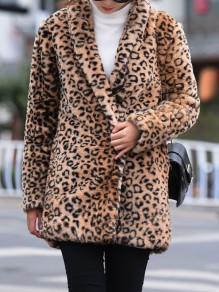 Brown Leopard Print Faux Fur Turndown Collar Long Sleeve Coat