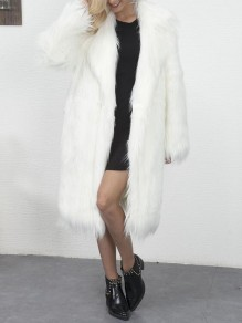 White Faux Fur Long Sleeve Popcorn Pile Teddy Casual Cardigan Coat