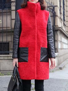 Red Patchwork Faux Fur Pockets Buttons Band Collar Fashion Outerwear