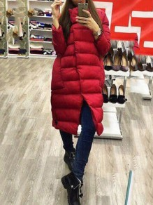 Red Pockets Single Breasted High Neck Long Sleeve Casual Coat
