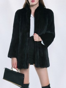 Black Faux Fur Band Collar Long Sleeve Fashion Coat