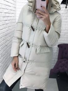 White Pockets Single Breasted Hooded Long Sleeve Fashion Coat