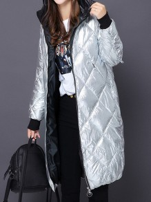 Silver Pockets Zipper Hooded Long Sleeve Casual Coat
