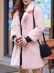 Pink Faux Fur Pockets Buttons Turndown Collar Fashion Outerwear