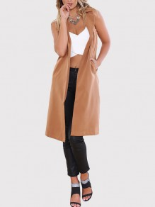 Khaki Pockets Turndown Collar Sleeveless Fashion Coat