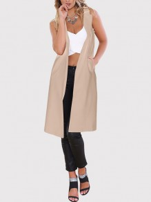 Beige Pockets Turndown Collar Sleeveless Going Out Gilet Coat