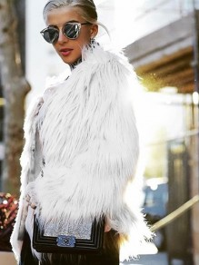 White Faux Fur Round Neck Long Sleeve Fashion Casual Coat Outerwear