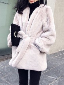 Grey Fur Pockets Sashes V-neck Long Sleeve Elegant Coat