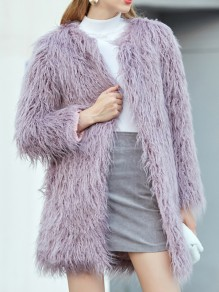 Light Purple Patchwork Faux Fur V-neck Fashion Outerwear