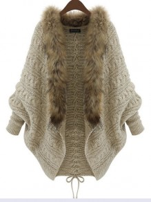 Khaki Patchwork Fur Collar Batwing Sleeve Oversize Knit Cardigan Sweater