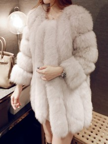 Light Grey Patchwork Faux Fur Pockets V-neck Fashion Outerwear