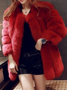 Red Patchwork Faux Fur Pockets V-neck Bubble Fur Coat Outerwear