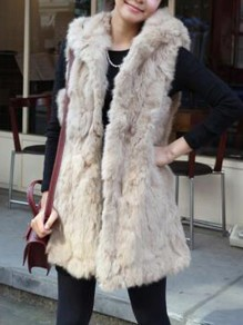 Apricot Fur Pockets Hooded Sleeveless Elegant Coat