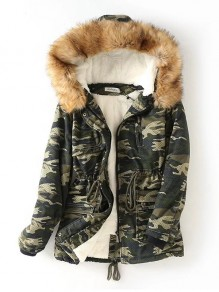 Green Camouflage Print Pockets Drawstring Hooded Long Sleeve Going out Coat