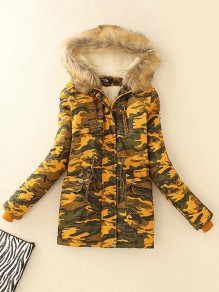 Yellow Camouflage Print Pockets Drawstring Hooded Long Sleeve Going out Coat