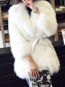 White Patchwork Faux Fur Belt Three Quarter Length Sleeve Fashion Outerwear