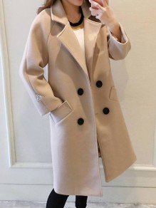 Beige Pockets Double Breasted Turndown Collar Long Sleeve Elegant Coat