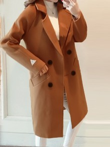 Camel Pockets Double Breasted Turndown Collar Long Sleeve Elegant Coat