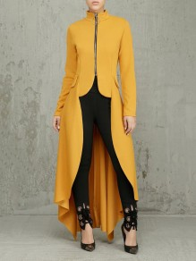 Yellow Pleated Zipper Pockets High-Low Long Sleeve Casual Outerwear
