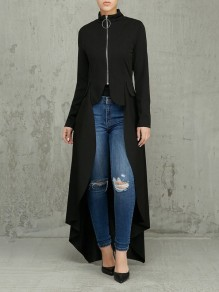Black Pleated Zipper Pockets High-Low Long Sleeve Casual Outerwear