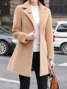 Khaki Pearl Pockets Tailored Collar Long Sleeve Work Coat