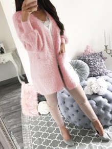 Pink Patchwork Pockets Long Sleeve Going out Outerwear