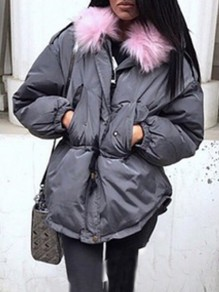 Grey Patchwork Fur Pockets Drawstring Buttons Zipper Hooded Long Sleeve Casual Coat