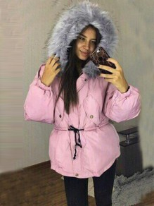 Pink Patchwork Fur Pockets Drawstring Buttons Zipper Hooded Long Sleeve Casual Coat