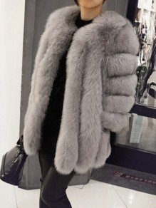 Dark Grey Pockets Faux Fur Long Sleeve Oversize Bubble Fur Coat