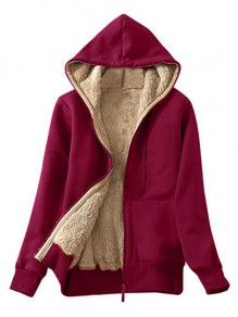 Burgundy Pockets Hooded Long Sleeve Sports Coat