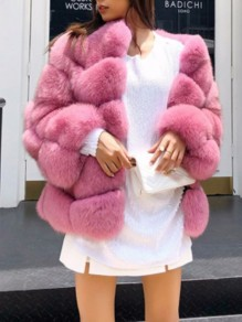 Pink Patchwork Faux Fur Collarless Long Sleeve Bubble Fur Coat Outerwear
