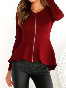 Red Zipper Ruffle Bodycon Cardigan Fashion Outerwear